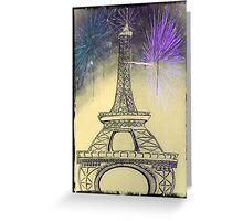 Eiffel Tower  Black and White with fireworks Greeting Card