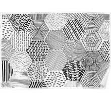 black and white hexagon patterns Poster