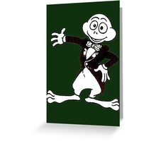 Excited Cute Cartoon Frog Wearing A Tuxedo Greeting Card