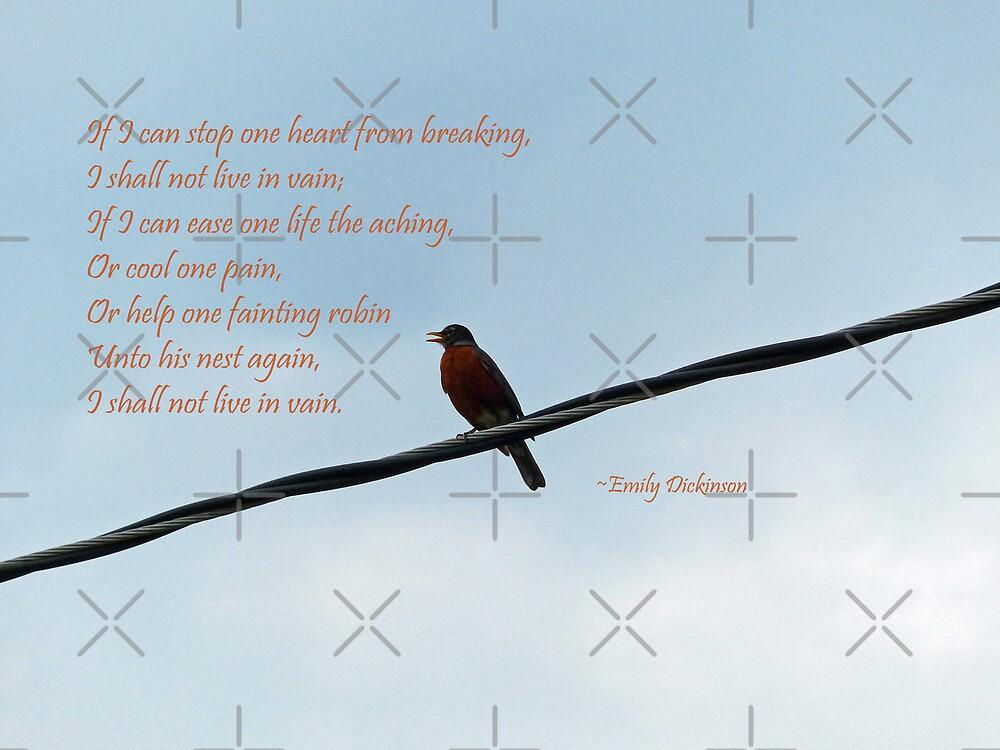Robin ~ Emily Dickinson Greeting Card by Susan S. Kline