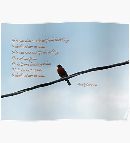 Robin ~ Emily Dickinson Greeting Card Poster