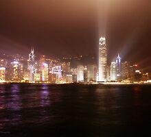 Hong Kong skyline at night by angeldragon069