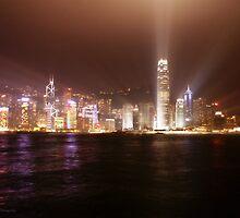Hong Kong skyline at night by angeldragon069