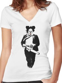 Texas Chainsaw Mikey Women's Fitted V-Neck T-Shirt