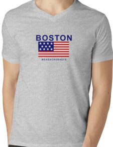 Boston Msaeachubaets Mens V-Neck T-Shirt