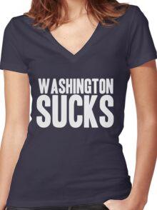 Dallas Cowboys - Washington Sucks - White Women's Fitted V-Neck T-Shirt