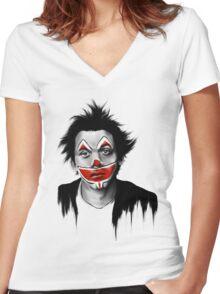 Sad Clown Women's Fitted V-Neck T-Shirt