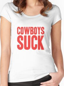 New York Giants - Cowboys suck - red Women's Fitted Scoop T-Shirt