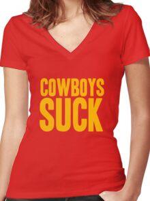 Washington Redskins - Cowboys suck - gold Women's Fitted V-Neck T-Shirt