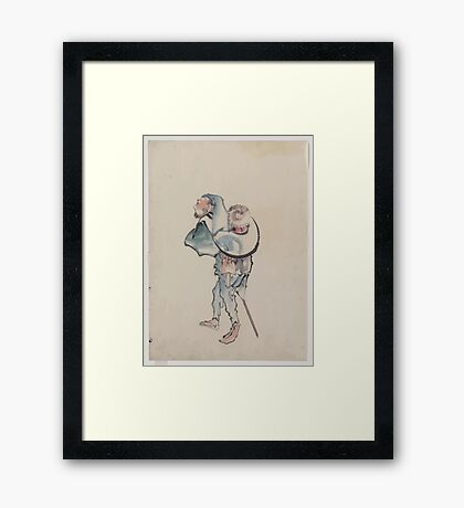 A man walking to the left with a large hat resting on his back and wearing sandals holding a short staff possibly used to propell a boat 001 Framed Print