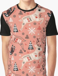 Holiday Folk in Pink Peppermint  Graphic T-Shirt