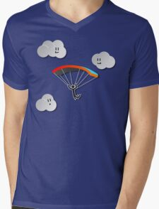 Parachute with Happy Clouds Mens V-Neck T-Shirt
