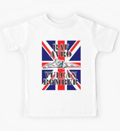 V BOMBER, Avro Vulcan, Union Jack, RAF, Bomber, Cold War, Aircraft, British, Falklands, War Kids Tee