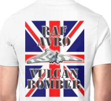V BOMBER, Avro Vulcan, Union Jack, RAF, Bomber, Cold War, Aircraft, British, Falklands, War Unisex T-Shirt