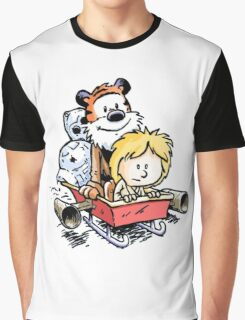 Calvin and Hobbes Inspired Stars Wars Graphic T-Shirt