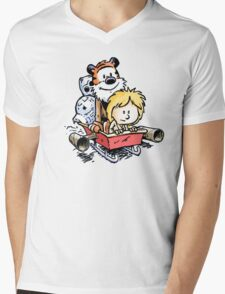 Calvin and Hobbes Inspired Stars Wars Mens V-Neck T-Shirt