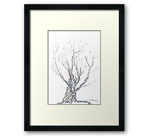 Little DNA Tree, Hand drawn ink on paper ACEO Framed Print