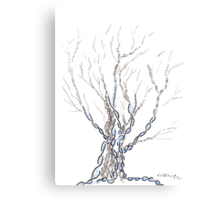 Little DNA Tree, Hand drawn ink on paper ACEO Canvas Print