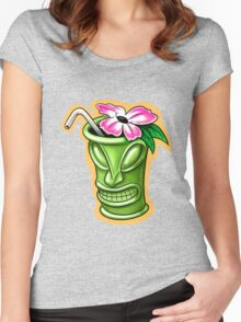 Tiki Flower God Drink Women's Fitted Scoop T-Shirt