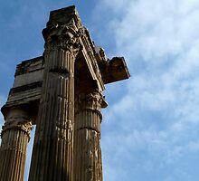 blue skies and ancient columns by kejube