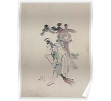 A man sweeping pine needles that have fallen from a tree near a stone shrine 001 Poster