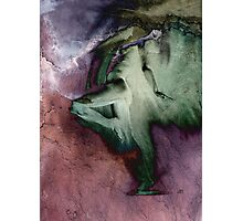 Fount - Drawing with Dark RED/GREEN mood texture Photographic Print