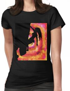 woman rock climbing in the sun Womens Fitted T-Shirt