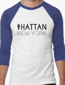 Man hattan Tee - New York - Black Lettering Men's Baseball ¾ T-Shirt