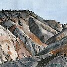 Salina Badlands Watercolor by Kevin Marcoux by Kevin Marcoux