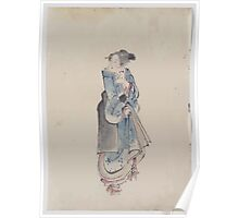 A woman walking to the right full length portrait facing left wearing kimono and geta 001 Poster