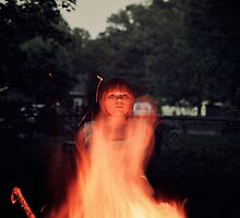 Woman Stands Behind Fire at Night  by samanthapugsley