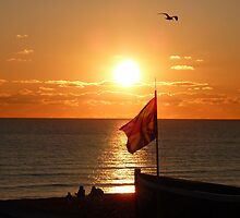Sunset Sit down on Brighton Beach  by 59Photography