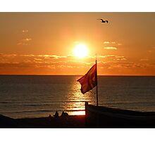 Sunset Sit down on Brighton Beach  Photographic Print