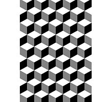 Cube Pattern Black White Grey Photographic Print