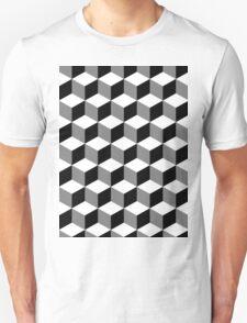 Cube Pattern Black White Grey Unisex T-Shirt