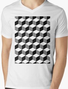 Cube Pattern Black White Grey Mens V-Neck T-Shirt