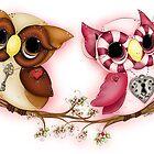 So In Love Hooties - Valentines Owl Art by Concetta Kilmer