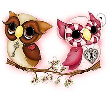 So In Love Hooties - Valentines Owl Art Photographic Print