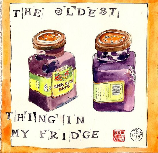 EDiM #12  draw the oldest thing in your refridgerator by Evelyn Bach