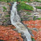 Mossy waterfall watercolor by Mike Theuer