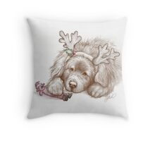 Santa's Fluffy Helper Throw Pillow