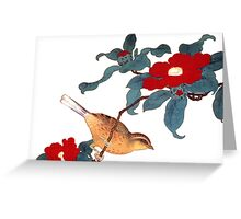 japenese bird and red flower Greeting Card