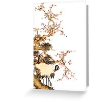 japenese crane in blossom tree Greeting Card