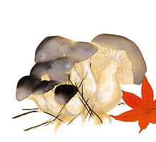 japenese print  mushrooms by meretsegur