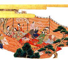 japenese print  outdoor feast by meretsegur