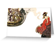 japenese print woman and boat Greeting Card