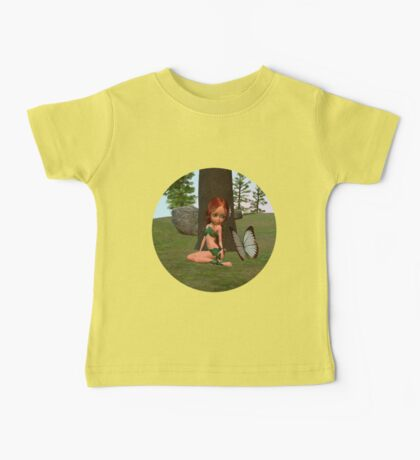 Forest Elf Girl and Butterfly Baby Tee