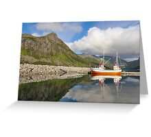 Small fishing boat in the harbor of the fjord Greeting Card