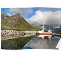 Small fishing boat in the harbor of the fjord Poster