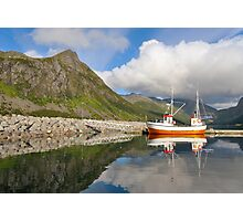 Small fishing boat in the harbor of the fjord Photographic Print